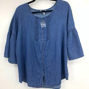 Est 1946 Womens Medium Blouse Chambray Bell Sleeve